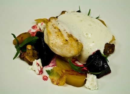 -Pan-fried monkfish jaw/tail(120g/ stk), bake roasted red and yellow beet root, potato and goat cheese chiffon, fried wildmushroom (cèpes), potato chips, salad of chervil,tarragon.