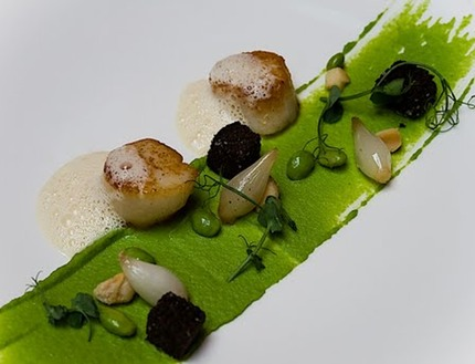 -Pan-fried scallop served with pea puree, malt bread crouton, pluck pea shoots, marinade soya beans, and a white chocolate veloute,