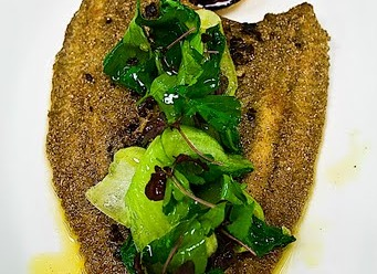 -Butter-fried plaice served with vadouvan brown butter sauce topped withpakchoyand herbssalad and, new potato with chopped shallots.