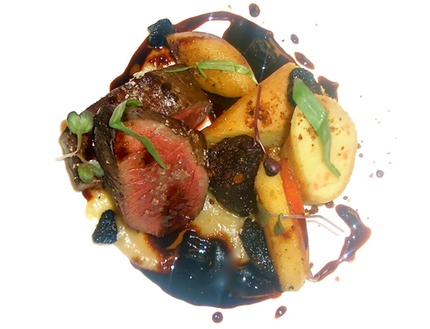 -Roasted legs of venison served with a black pudding, brunoise wrapped with pain d epices. Jerusalem artichoke puree, butter fried turn apple, Morel and wild port vine jus, pluck tarragon.Pomme duchesses Pickled carrot