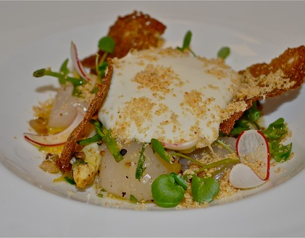 -Pan-fried white asparagus served with rasp oil ...