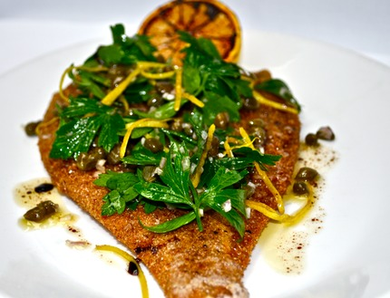 -Pan-fried place served with brown butter, chop capers, lemon zest, chop parsley, asparagus potato tossed with chop shallots, butter, pluck parsley.