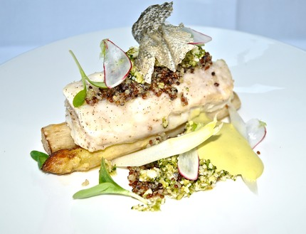 -Bake hake, served with grated cauliflower & pickle stem and broccoli couscous marinade in rasp oil, Pan-fried white asparagus, oyster hollandaise chiffon, pluck borage cress, radish & asparagus crudity, crispy skin.