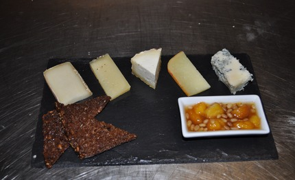 -Italian cheeses, served with, peaches and roast pins chutney.