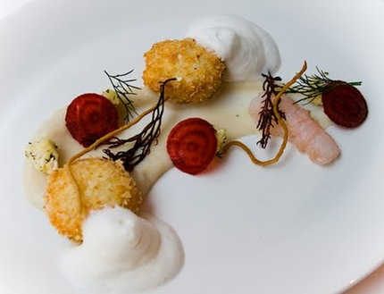 "-Deep fried scallops ""tartar"" norwegian lobster with cauliflower pure & crudity, beetroot crudity and buttermilk chiffon, pluck red seaweed."