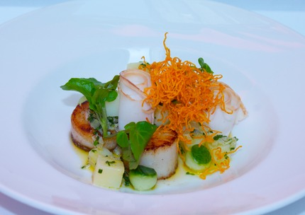 "-Fry scallops served with small potato dices, shallots, horseradish, brown butter, scoop cucumber, raps oil, Sliced smoked lard, pluck French watercress, deep fried ""sweat potato"" Angel hair with salt and vinegar."