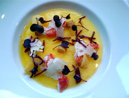 -Panna cotta of cauliflower and goat cheese, served with yellow beetroot gelled, red beetroot slices, roasted macademia nuts, cauliflower crudity , and marinated poached king crab, pluck red cress.