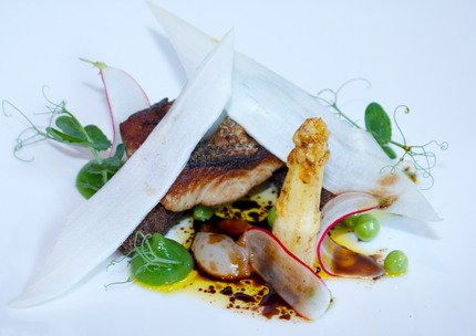 Fry gray mullet, peas pure dots, fresh peas, butter fry white asparagus & Broken jelly, pluck peas shoots, malt crumble.