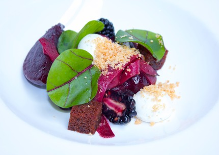 Beetroot tagliatelle served with grill goat cheeses crumble & cream spheres, comfit red beetroot, fresh black berries & pure, spicy bread crouton, pluck beetroot leaves rings.