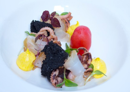 "-Cold smoke ""Carpaccio"" of codfish, comfit octopus olive oil, san marzano tomato, saffron rouille, and ink muffin crouton."