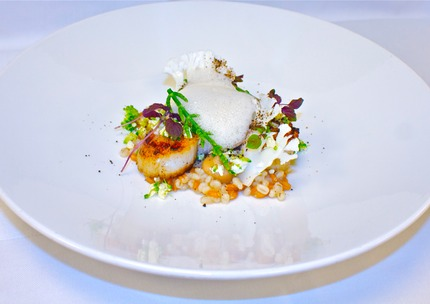 -Fry scallops served with Pearle buck & spelt risotto mix with a couscous of cauliflower & Broccoli, caramelized cauliflower pure, pickle cauliflower stalk, and crudity, fry scallops and malt crumble, coconuts and mussel foam, pluck red cress.