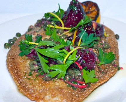 -Fry plaice serve with a classic brown butter capers, lemon zest, shallots dressing, confit red baby beetroots, pluck parsley, asparagus potato tossed in brown butter chop shallots and parsley.