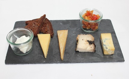 -Nordic cheeses, served with fried rye bread, rhubarb jam: