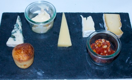 -Selection of French cheeses served with quince / almond jam, bake brioches.