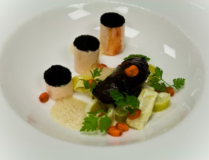 "-Poached king crabs balloting ""farce"" and braised pork jaw served with emulsifier foie gras ""soup made of, reduction of pork stock, mounted a la minute with foie gras butter"" with butter confit leeks rings, and leek ash, with sugar cure havton, pluck chervil."