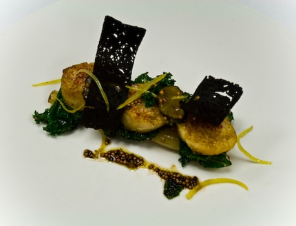 "-Pan-fried Scallops served with a confit salsify (in rasp oil), Crispy malt pain d epices tuile, sautéed green cabbage and ""dry"" mustard seeds pickle vinaigrette with balsamic, lemon zest."