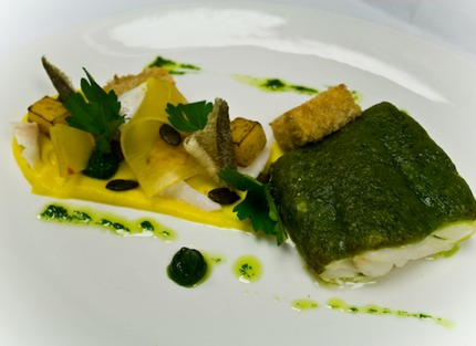 -Bake cod, parmesan and parsley crust served with a pumpkin pickle, puree, pan-fried and salted seed, herb salad, croquette of jerusalem artichoke gnocchi, confit garlic and parsley puree.