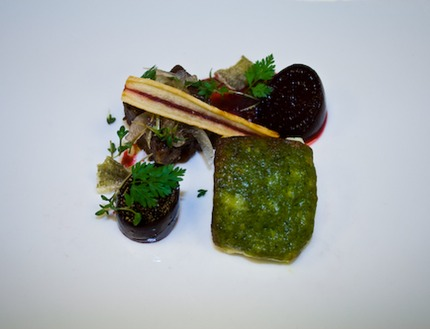 "-Bake cod fish with a parmesan and parsley crust served with a braised pork joe ""in chicken stock"" set as a terrine and sauce made of the reduction of the braising jus, and dice boil beetroot, chop ginger, and puff pastry beetroot tuile."