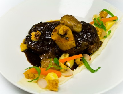 -Veal (osso buco, braise in a fresh madagascar pepper red vin jus), fried maw & dices toast bread crouton, puree of celeriac, blanched roots vegetables (celery, persil roots), pickle pearl onion in a red vine vinegar lay and pickle carrots heart, pluck estrogen-verbena.
