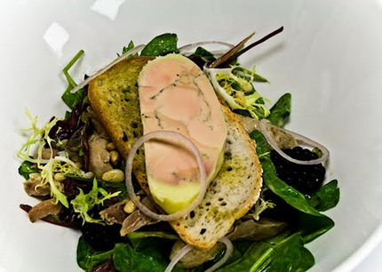 -Salad, served with a confit foie gras terrine served on a toast, confit chicken legs, mix salad, rocket salad, frisee, fresh black berries and fresh shallots rings, mustard, balsamic vinaigrette.pluck