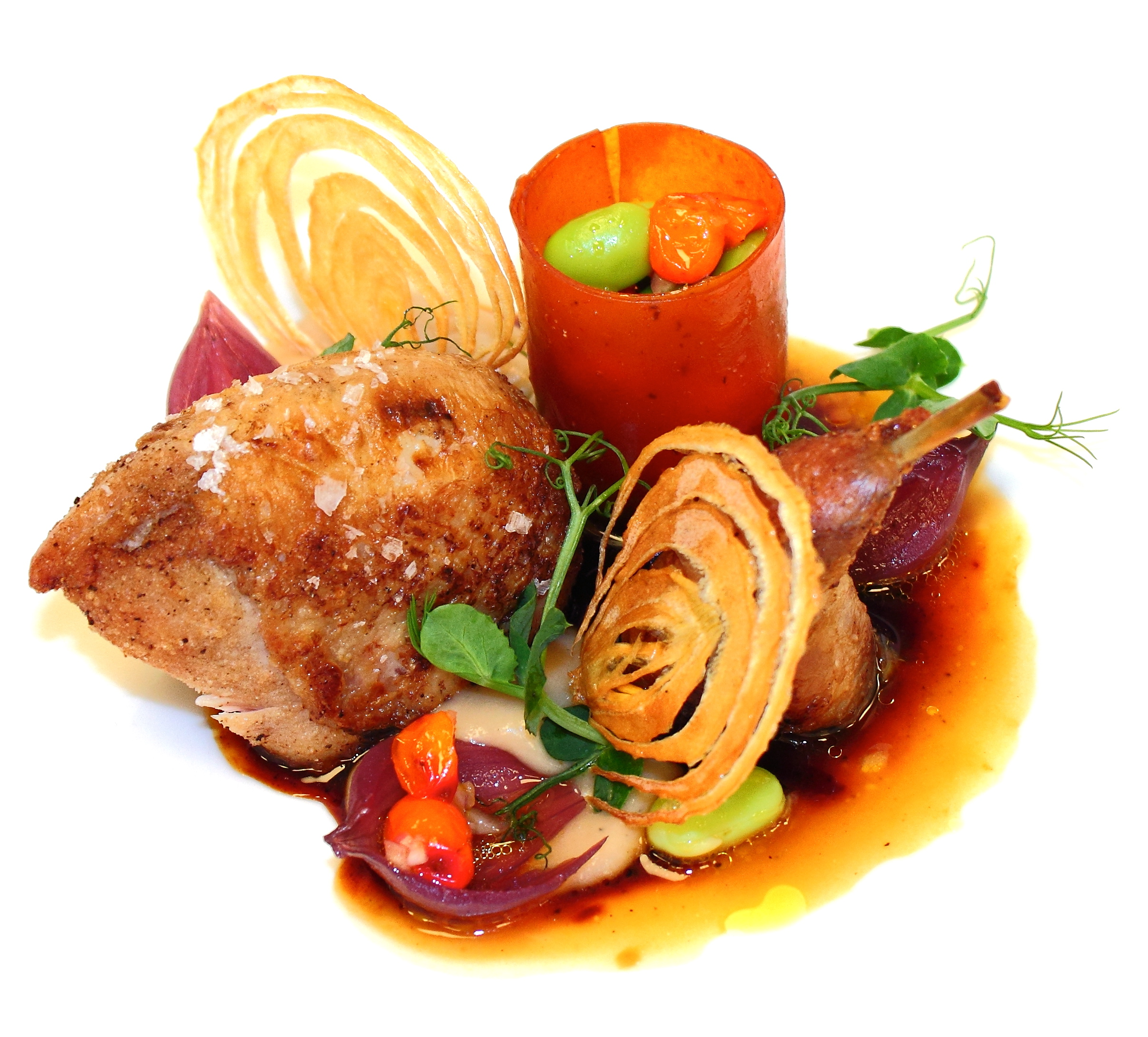 Roast Quail, confit legs served with caramelized onion pure, onion ...