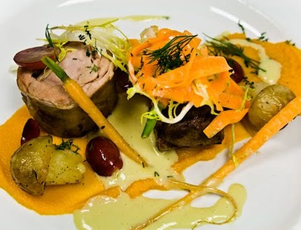 -Braised lamb shoulder served with pan-roasted new potato (mushroom), carrot pure, baby carrot glazed in orange and honey, carrot crudity, lamb jus emulsion with olive oil and chop dill, salad of frizzed, red grapes.