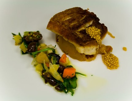 -Pan-fried red fish served with a chorizo mach potato and a special root vegetables salsa, pickle mustard seeds.