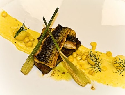 -Pan-fried knurhane served on Terrine of toasted bread and smoked mackerel crudity off scoop apple and a butter fried baby fennel, pluck dill, sweet corn puree.