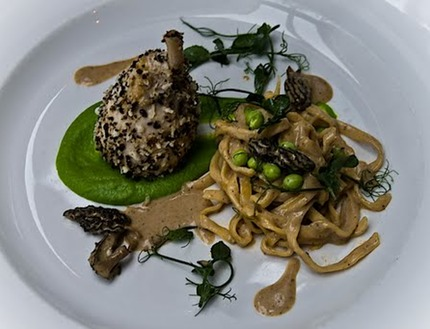 -Poached breast of Guinea fowl served with peas pure and fresh peas, licorice crumble, and creamed moral sauce, fresh home made tagliatelle pluck watercress.