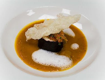 -Tomato soup served with a king crab rillette, marinaded Lumpfish and deep-fried tapioca with crab salt.